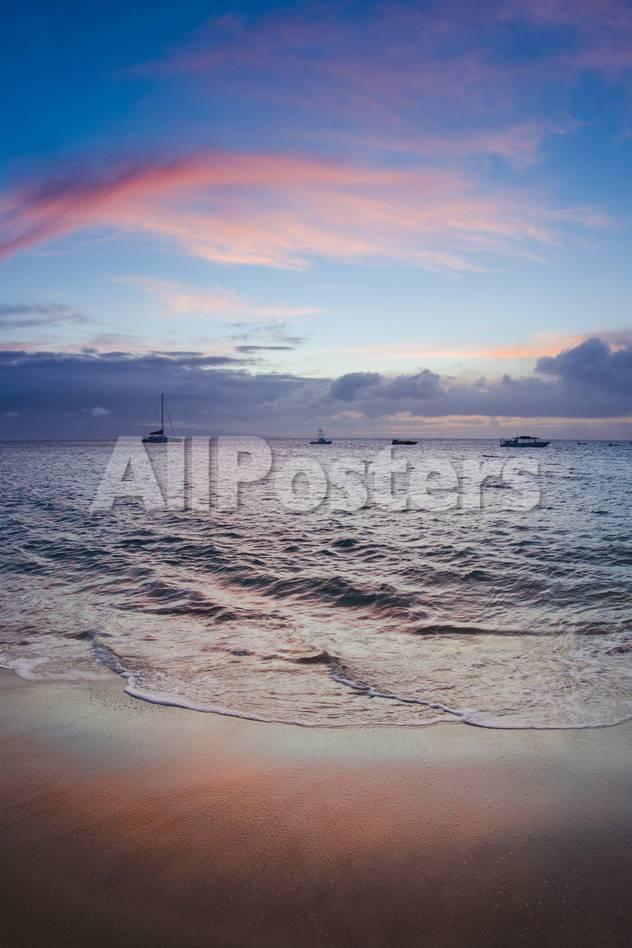 Sunset From Kaanapali Beach Maui Hawaii Usa