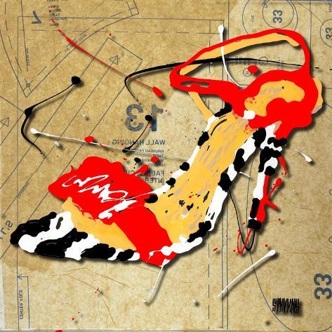 Zebra Heel Red Stampa giclée
