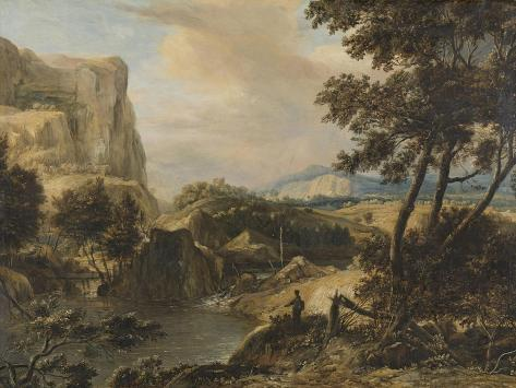 Mountainous Landscape with Fisherman Art Print