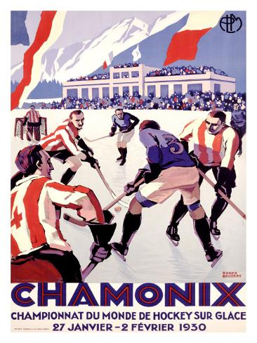 Chamonix, Hockey Giclee Print
