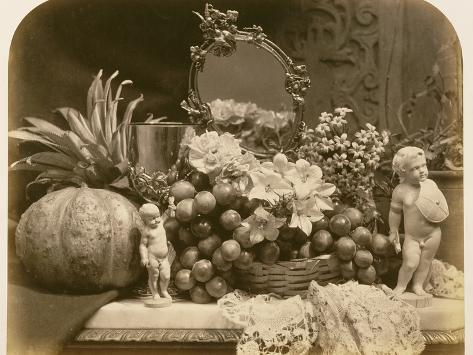 Still Life of Fruit with Mirror and Figurines, 1860 Photographic Print