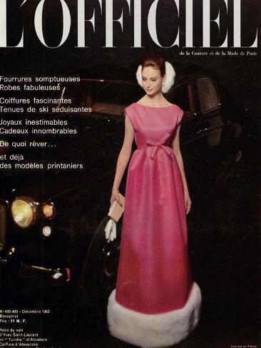 L'Officiel, December 1962 - Robe du Soir d'Yves Saint-Laurent en Tundra d'Abraham Taidevedos