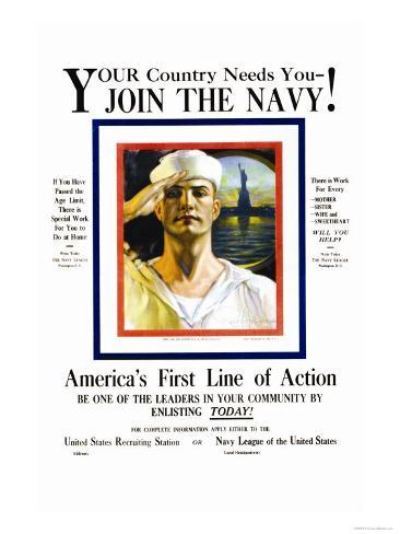 Join the Navy, Your country Needs You, c.1916 Art Print