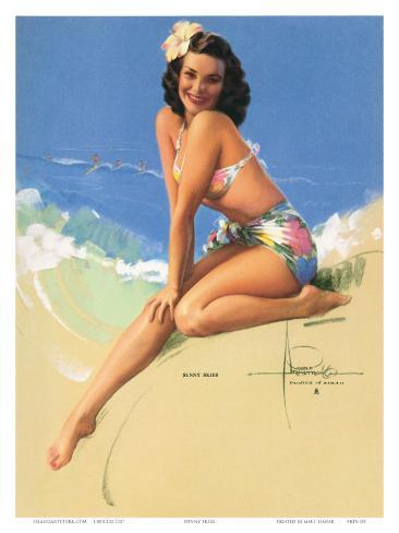Sunny Skies, Pin-Up of Miss Hawaii 1950 Elsa Edsman, c.1953 Art Print