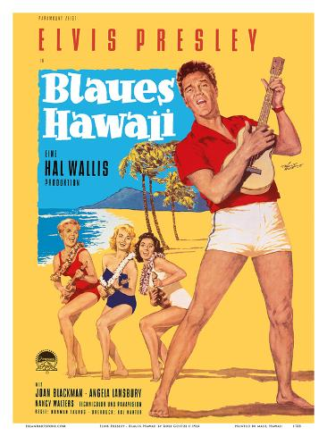 Elvis Presley in Blaues (Blue) Hawaii アートプリント