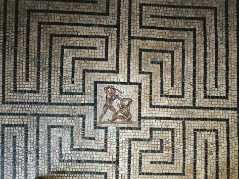 Roman Civilization, Floor Mosaic Depicting Fight Between Theseus and Minotaur in Labyrinth Giclee Print