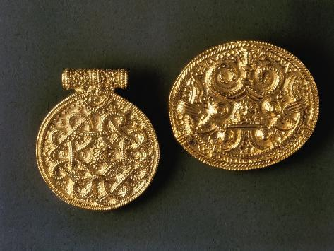 Roman Filigreed Gold Brooch and Pendant, from Hedeby, Germany Giclee Print