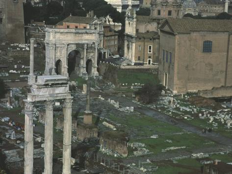 Roman Forum in Rome, with Arch of Emperor Septimius Severus, 146-211 Stretched Canvas Print