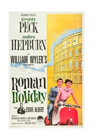 Roman Holiday, Eddie Albert, Gregory Peck, Audrey Hepburn, 1953 Art Print