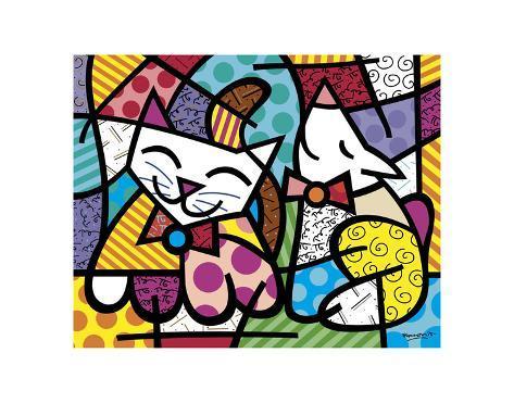 Happy Cat and Snob Dog Art Print