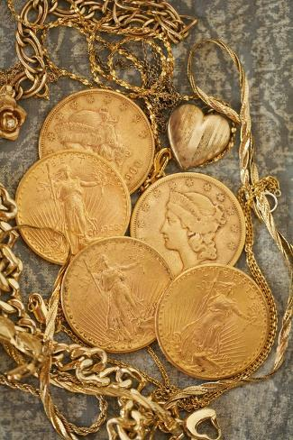 Liberty Dollars and Gold Jewelry Photographic Print