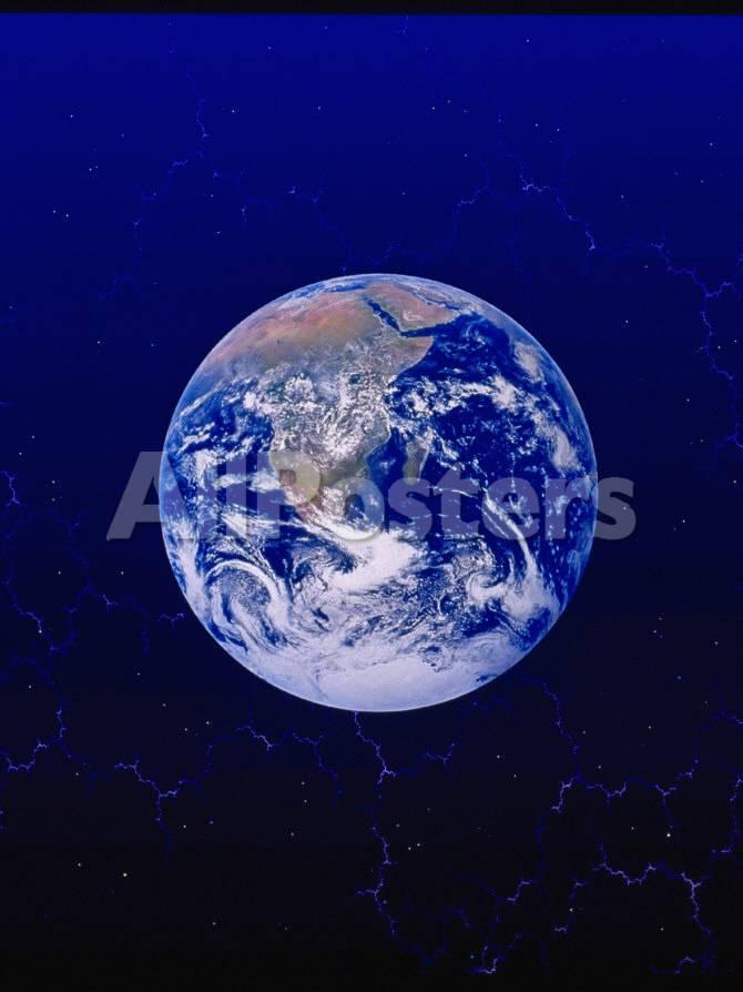 de aarde vanuit de ruimte fotoprint van ron russell - bij allposters.be