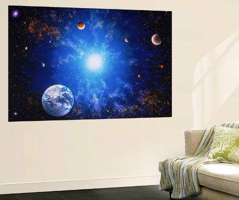 Illustration of Earth and Glowing Star Wall Mural