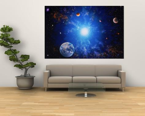 Illustration of Earth and Glowing Star Giant Art Print