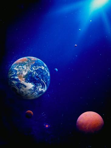 Illustration of Earth and Space Photographic Print