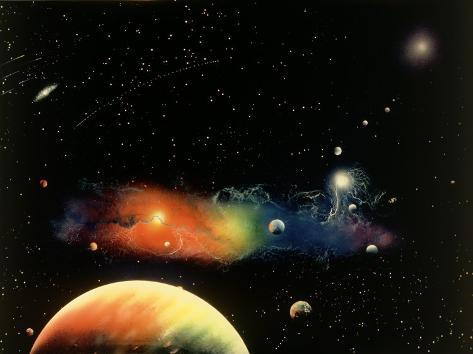 Space Illustration of Stars and Planets Photographic Print