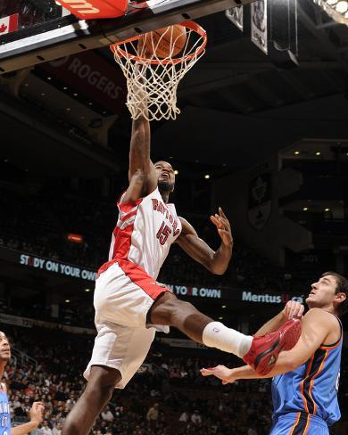 Oklahoma City Thunder v Toronto Raptors: AmirJohnson and NenadKristic Photo