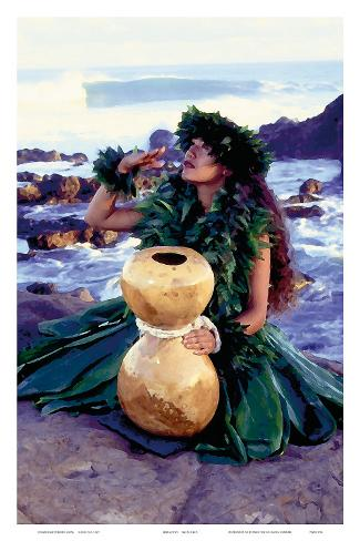 Grateful, Hula Girl with Ipu Drum, Hawaii Art Print