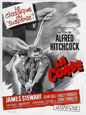 ROPE, (aka LA CORDE), French poster, from left: Farley Granger, James Stewart, 1948 Stampa artistica