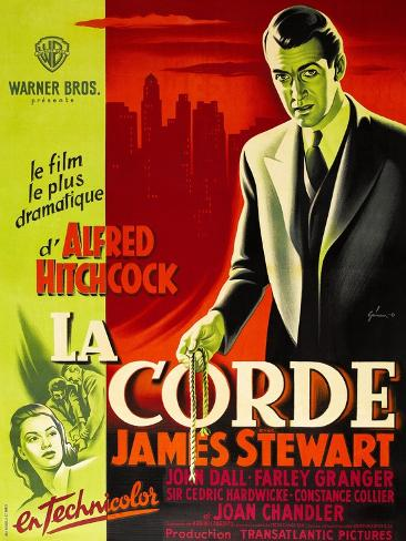 ROPE, (aka LA CORDE), French poster, James Stewart, Joan Chandler (bottom right), 1948 Premium Giclee Print