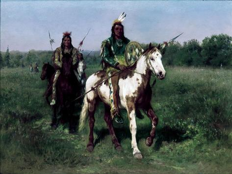 Mounted Indians Carrying Spears Giclee Print