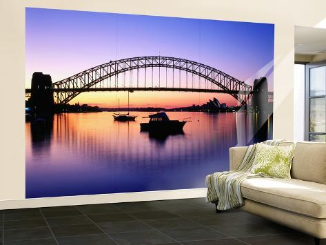 Harbour Bridge at Dawn, Seen from Blue Point, Boats in Foreground are Moored at Lavender Bay Wall Mural – Large