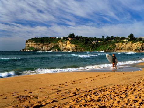 Surfer on Avalon Beach, Bilgola Headland in Background, Sydney, New South Wales, Australia Photographic Print