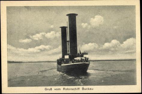 Rotorschiff Buckau, Flettner Rotor Schiff, Dampfer Giclee Print