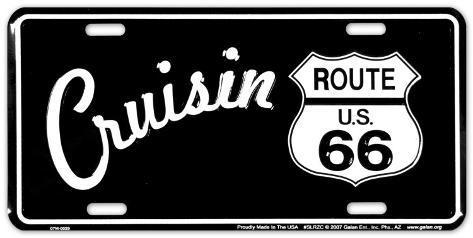 Route 66 B&W Cruisin' Carteles metálicos