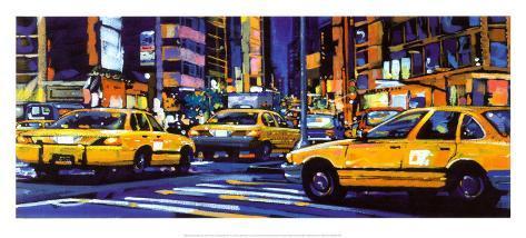 Yellow Cabs, New York City Art Print