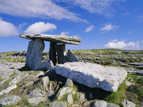 Poulnabrone Dolmen, Ancient Tomb, the Burren, County Clare, Munster, Republic of Ireland (Eire) Photographic Print