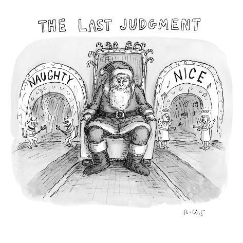A scary and mean-looking Santa sits in a chair between two doors with the … - New Yorker Cartoon Stampa giclée premium