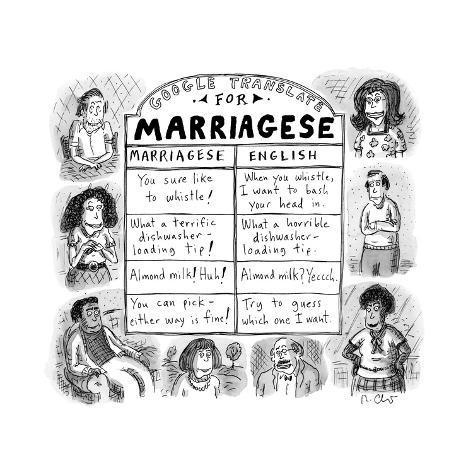 Google Translate for Marriagese -- translated passive aggressive comments. - New Yorker Cartoon Premium Giclee Print