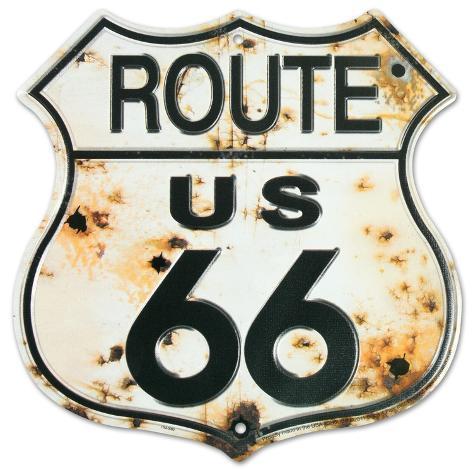 Rt. 66 Bullet Holes Tin Sign