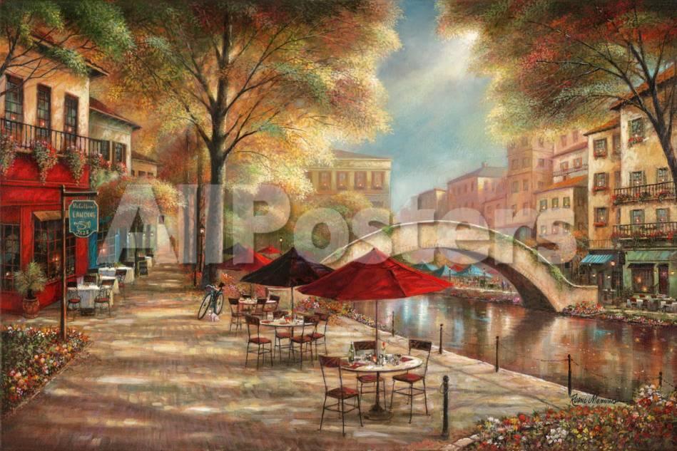 Riverwalk Café Láminas por Ruane Manning en AllPosters.es