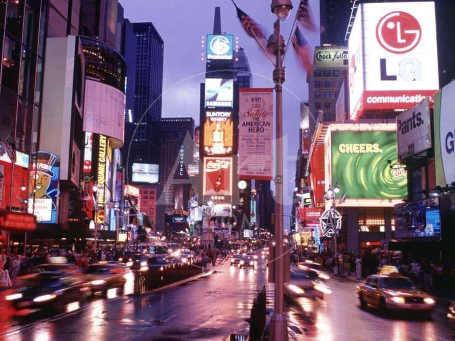 Times Square at Night, NYC, NY Lámina fotográfica por Rudi Von Briel ...