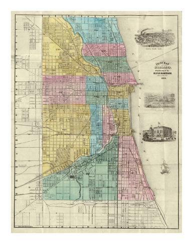 Guide Map of Chicago, c.1869 Art Print