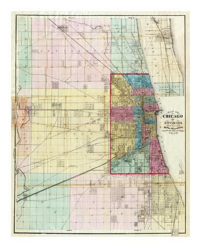 Map of Chicago and Environs, c.1869 Art Print
