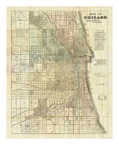 Map of Chicago, c.1857 Art Print