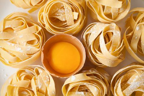 Fettuccine Pasta Italian Food Still Life Rustic Flat Lay White Background Tagliatelle Alfredo Yolk