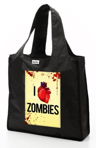 RuMe I Heart Zombies Reusable Tote Bag - Black Tote Bag