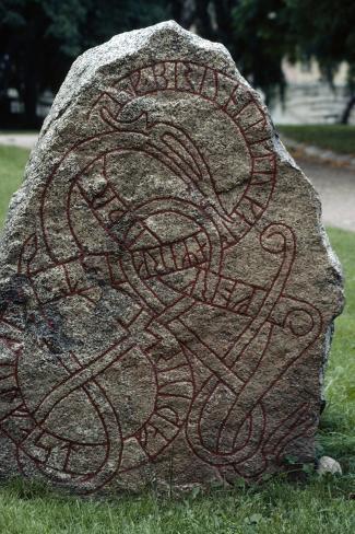 Rune Stone, Oland Island, Sweden, Viking Civilization Giclee Print