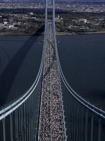 Runners Crossing the Verrazano Bridge after Starting the 1999 New York City Marathon Photographic Print