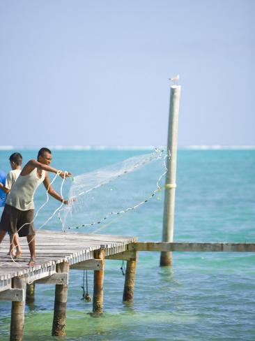 Net Fishing, Caye Caulker, Belize Photographic Print