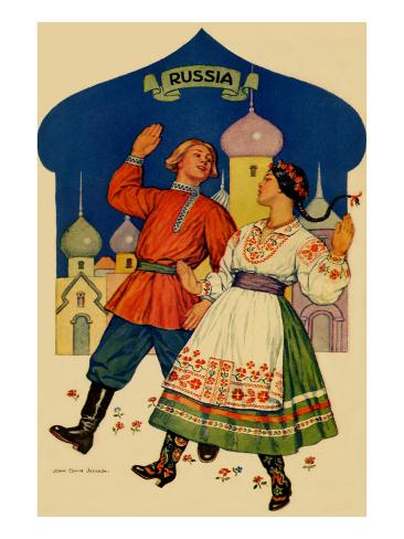 Russian Dancers In a Folk Costume Art Print