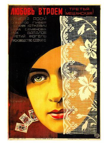 Russian (Woman Face/Cards) Premium Giclee Print