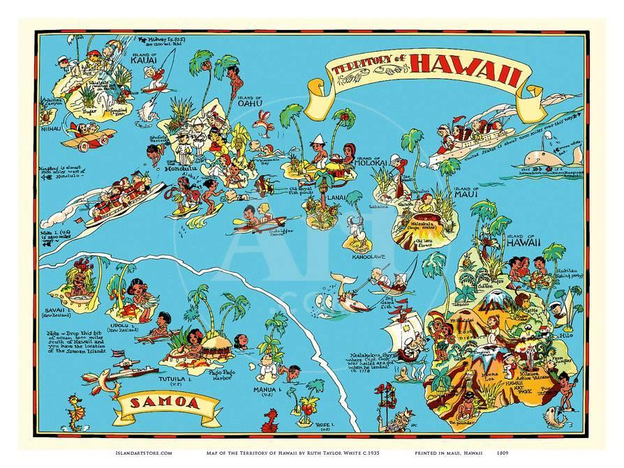 Map Of The Territory Of Hawaii American Samoa Pictorial Map