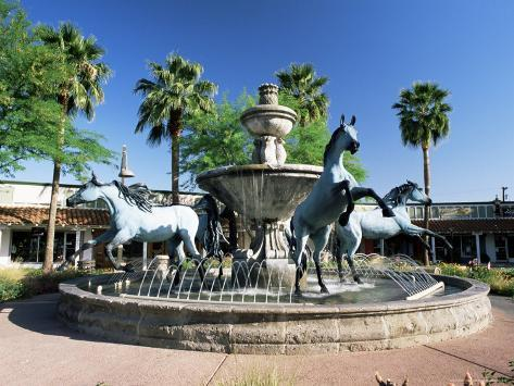 Bronze Horse Fountain in the Up-Market 5th Avenue Shopping District, Scottsdale, Phoenix, USA Photographic Print