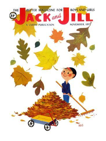 Raking Leaves - Jack and Jill, November 1957 Stampa giclée