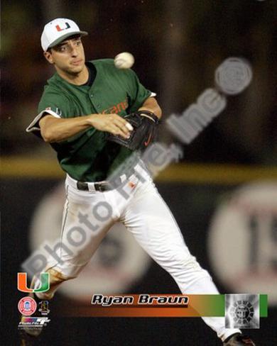 Ryan Braun University of Miami  Hurricanes 2005 Framed Photographic Print
